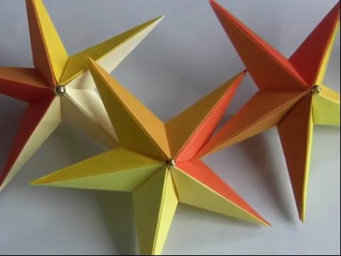 《折纸星星 折纸教程『立体星星』折纸大全视频》