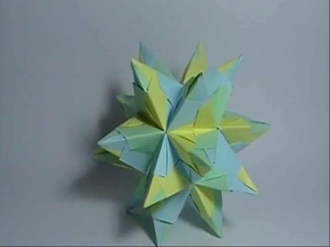 pps视频:折纸教程-冰晶折法 diy折纸大全