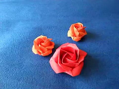 折纸大全 制作简易玫瑰花
