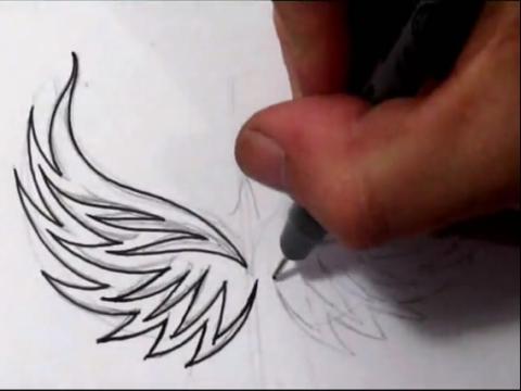 鸳鸯荷花素描手稿纹身图案图片