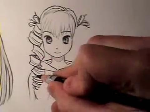 手绘画教程-如何画漫画中发型(直发与卷发)