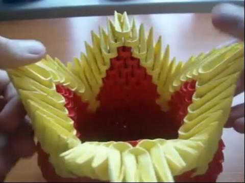 手工制作大全 折纸教程-3d多彩花篮