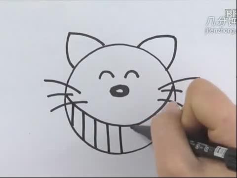 圆形简笔画之小猫