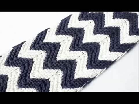 波浪边条纹男士围巾织法