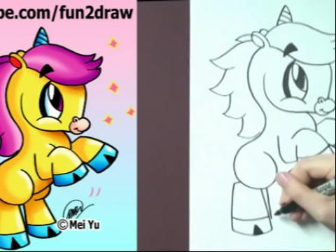 diy手绘画教程:如何画卡通独角兽