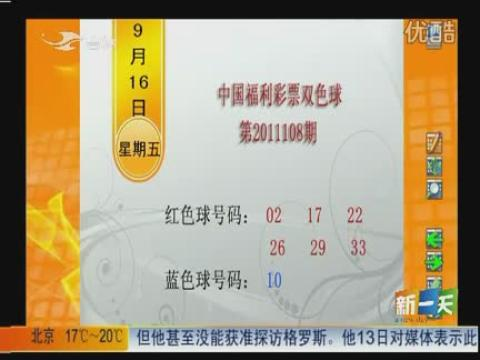 视频: 9月16日中国福利彩票双色球开奖公告 [新一天]