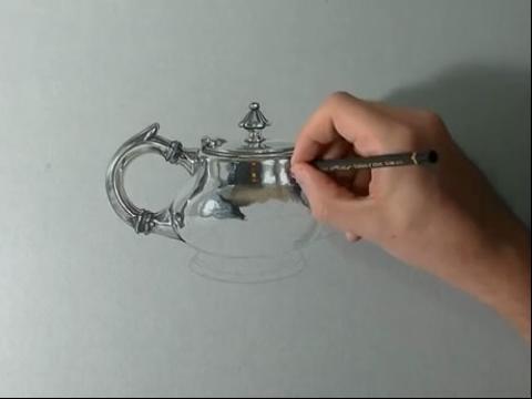 手绘视频教程快速手绘画-如何画写实银茶壶v2